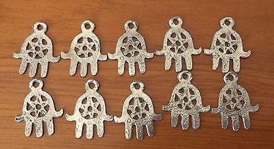 Silver Berber Hamsa Pendants Tunisian Ethnic Tribal Small Hand African 10 Pieces