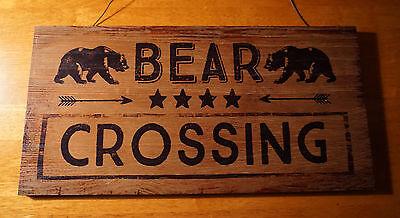 BEAR CROSSING Arrows Rustic Brown Wood Lodge Log Cabin Home Decor Sign NEW