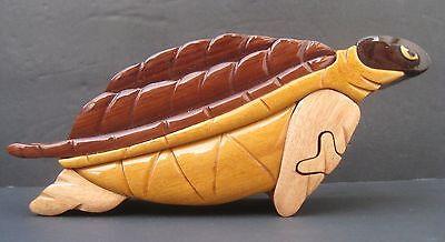 Intarsia Handmade Wooden Trinket Jewelry Puzzle Box  Sea Turtle