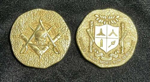 "Piece of Eight Pirate Challenge coin Freemason Masonic, 1.75"", bright gold"