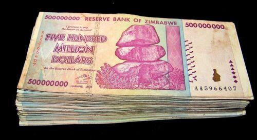 25 x Zimbabwe 500 Million Dollar banknotes- AA/AB 2008 / circulated currency