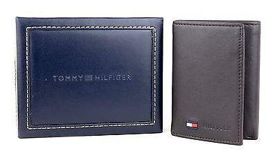 NEW TOMMY HILFIGER MEN'S PREMIUM LEATHER CREDIT CARD WALLET TRIFOLD BROWN 5390-2