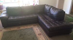 Leather Brown Corner L-Lounge 7-8 Seater Birkdale Redland Area Preview