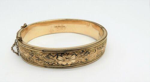 Antique Victorian  Wide 12k Gold Filled Bangle Bracelet