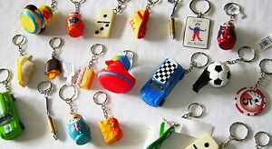 NEW 12 ASSORTED NOVELTY KEYRINGS KEY RINGS GREAT PARTY BAG FILLERS!!