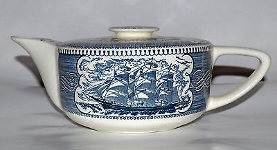 Currier & Ives Blue Teapot with lid Royal China USA