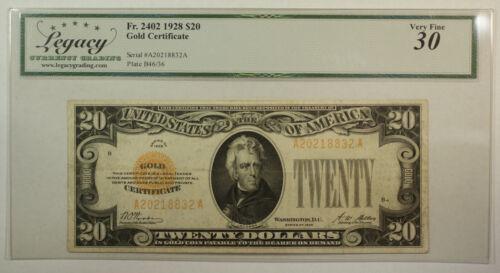 1928 $20 Twenty Dollar Gold Certificate Note Fr. 2402 Legacy VF-30