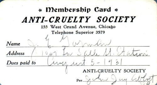 PASS-T 1931 ANTI-CRUELTY SOCIETY  Chicago  J.E. GORMAN  President Chicago R.I.