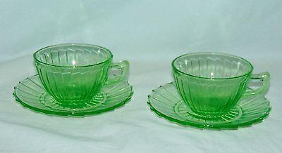 2 Jeannette SIERRA/PINWHEEL GREEN *CUPS & SAUCERS*