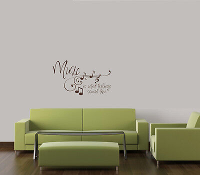 MUSIC IS WHAT FEELINGS SOUND LIKE HOME KIDS FAMILY WALL QUOTE DECAL VINYL WORDS on Rummage