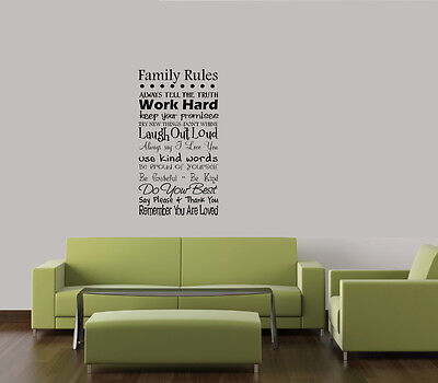 FAMILY WORD RULES COLLAGE WALL QUOTE DECAL VINYL WORDS LETTERING HOME  DECOR on Rummage
