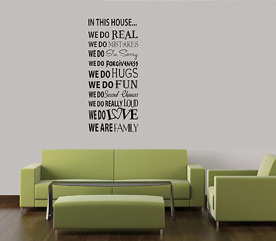 "IN THIS HOUSE WE DO WORDS HOME FAMILY QUOTE VINYL DECAL WALL ART LETTERING 23"" on Rummage"