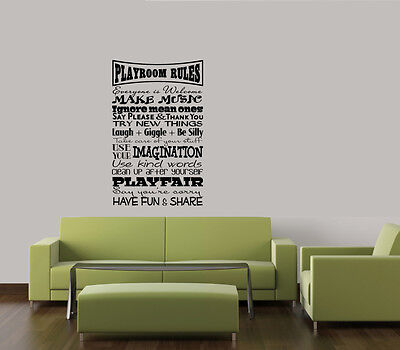 "PLAYROOM RULES WORDS HOME FAMILY CHILDREN VINYL DECAL WALL ART LETTERING 23"" on Rummage"