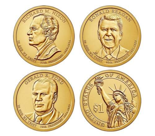 2016 P&D Presidential One Dollar Coin Reagan Gerald Ford Nixon Coins U.S. Mint