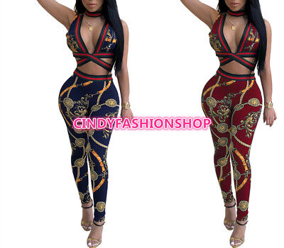 Women Chain Printed 2PC Pieces Set Sexy V Neck Spliced  Suits Halter Jumpsuit #J
