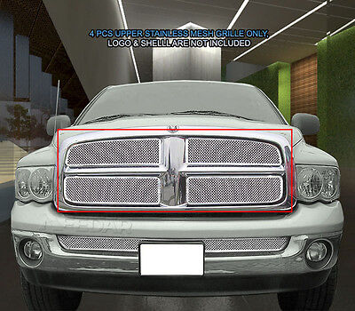 For 2002-2005 Dodge Ram 1500 2500 3500 Stainless Mesh Grille Grill Upper (2005 Dodge Ram 2500 Grill)