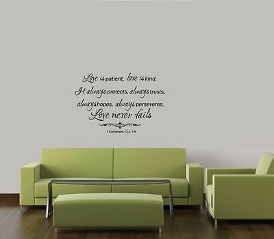 LOVE IS PATIENT LOVE IS KIND RELIGIOUS WORDS VINYL WALL DECAL QUOTE LETTERING  (Love Is Kind Love Is)