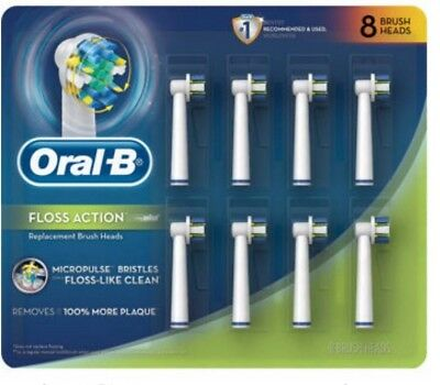 - 8 Oral B Floss Action Brush Heads Braun Replacement Electric Toothbrush Refills
