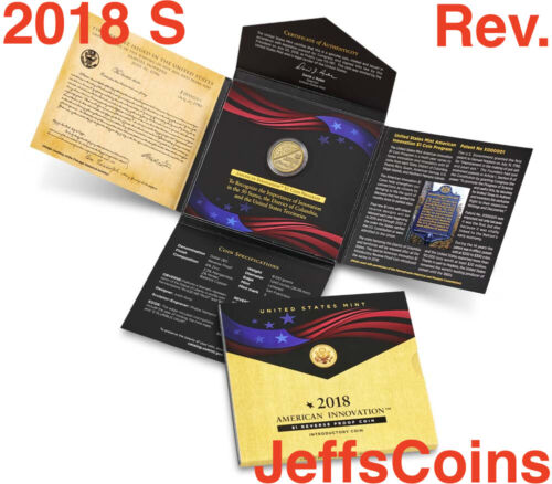 2018 S REVERSE PROOF American Innovation Box & COA Dollar $1 Coin P 2019 D 18GE