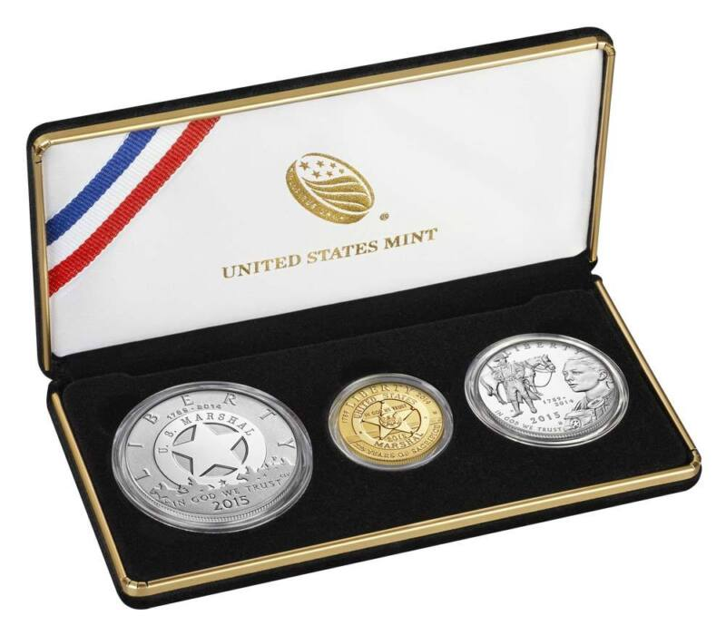 2015 US Marshals Service 225th Anniversary Three Coin Proof Set GOLD SILVER CLAD