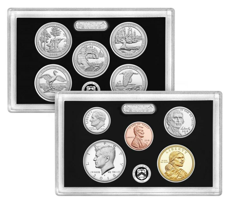 2018 S U.S. Mint 90% Silver Proof set 10 coins with Native American & Quarters