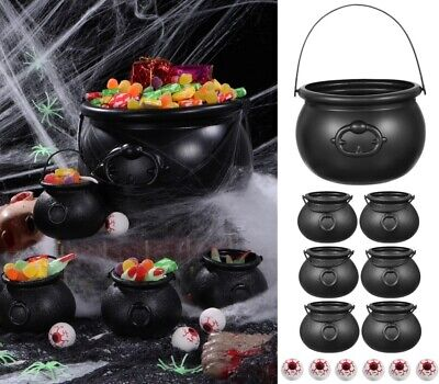 7* Candy Bucket Halloween Trick or Treat Candy Pail Holder Witch Cauldron Set US