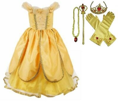 Belle The Princess (Girls Beauty and the Beast Dress kids Princess Belle Dress UP Set Size 2-8)