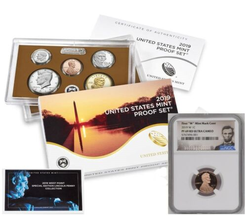 """2019 PROOF SET w/ FIRST """"W"""" MINT PROOF LINCOLN CENT, NGC PF69RD, LINCOLN LABEL"""