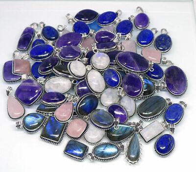 Amethyst & Mix Gemstone 925 Sterling Silver Overlay Lot Handmade Pendant (Amethyst Gemstone 925 Silver Pendant)