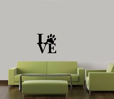 LOVE  PAW PRINT DOG PET DECAL WALL VINYL DECOR STICKER HOME CAT DOG ANIMAL QUOTE