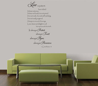 LOVE IS PATIENT LOVE IS KIND RELIGIOUS HOME VINYL DECAL WALL ART LETTERING  (Love Is Kind Love Is)