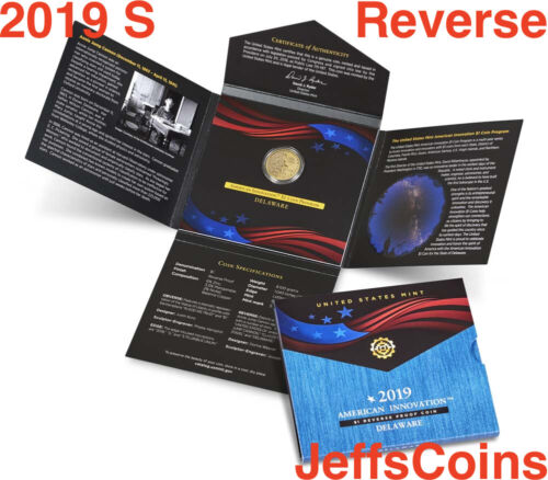 2019 S REVERSE PROOF #2 American Innovation DELAWARE Dollar Box COA $1 Coin 19GE
