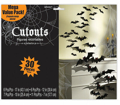 30 x Halloween Cutout Bat Vampire Party Decorations *BUMPER PACK* Cut Outs (Bat Cut Outs)