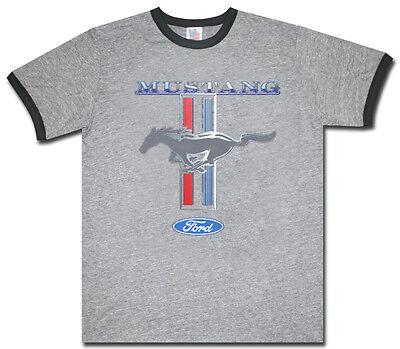 Mustang Ringer (Ford Mustang tri-bar pony design gray men's size ringer tee shirt)