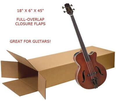 Large 18x6x45 Electric Guitar Keyboard Shipping Packing Moving Box Side Loading