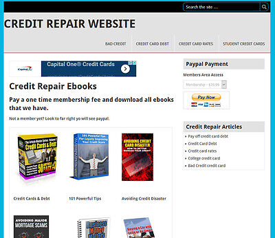 Credit Repair Ebook Membership Website For Sale