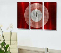 Metal Wall Art Clock Modern Red and Silver Painted Clock  Decor Jon Allen