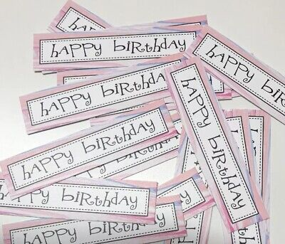 12 MARBLE design HAPPY BIRTHDAY Sentiments/Banners Hand Made Card Toppers (MBOB)