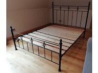 King Size Black Metal Bed Frame and Base
