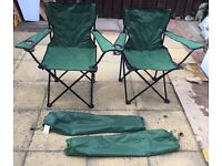 2 X foldaway camping chairs with drinks holder