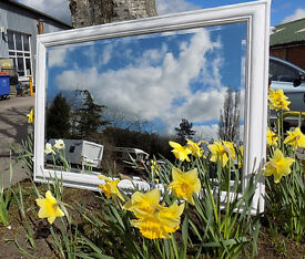 Painted Shabby Chic Pine Bevelled Wall Mirror