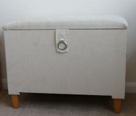 Upholstered Storage Ottoman Cream 77W x 41D x 60H cm