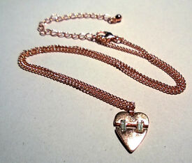 rose gold plated heart pendant and chain