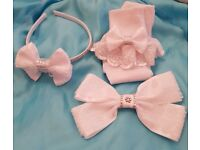 Girls White Lacey Bow Headband & Socks set