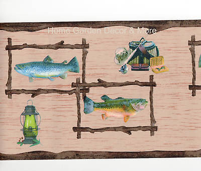 Fishing Salmon Trout Fish Cabin Wood Branch Frame Rustic Brown Wall paper Border Twigs Outdoor Wall