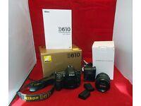 Nikon D610 24.3 MP Digital SLR Camera - Black & Nikon Lens 24mm - 85mm & 2 x Batteries