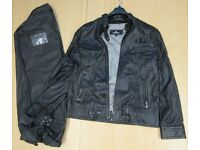 black leather jacket with travel cover