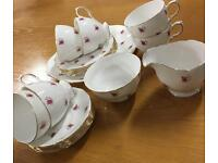 GAINSBOROUGH BONE CHINA TEA SET - 6 CUPS, SAUCERS, SIDE PLATES...