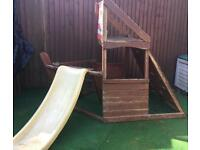 Kids outdoor wooden pirate ship, slide play centre