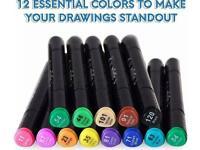 Premium Dual Tip Markers (12-pack)